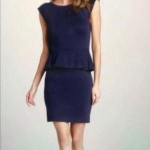 Alice + Olivia navy Victoria peplum dress size 6